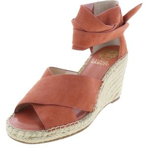 VINCE CAMUTO WOMENS LEDDY LEATHER ESPADRILLE WEDGE
